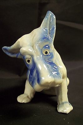 Scotty Terrier Blue & White Sitting Dog Figurine Made In Japan