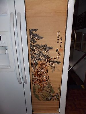 Vintage Chinese Tiger Scroll Signed Hand Colored