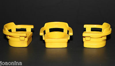 Vintage FISHER PRICE Little People CAPTAIN'S CHAIRS (3) YELLOW