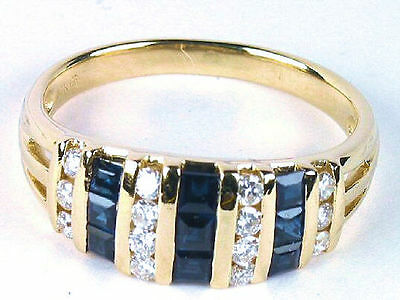 Stunning Estate .91 Diamond and Sapphire Ring in 14K Yellow Gold
