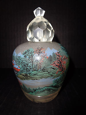 Chinese Antique ROCK CRYSTAL REVERSE Hand PAINTED Large PERFUME / SNUFF BOTTLE