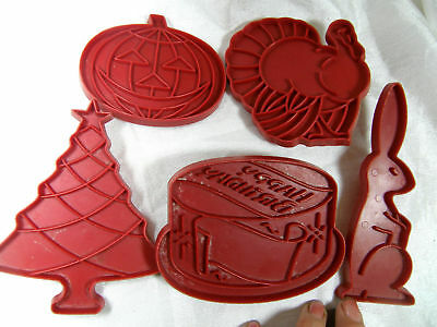 Vintage Cookie Cutters Red Plastic 5 Holidays Birthday