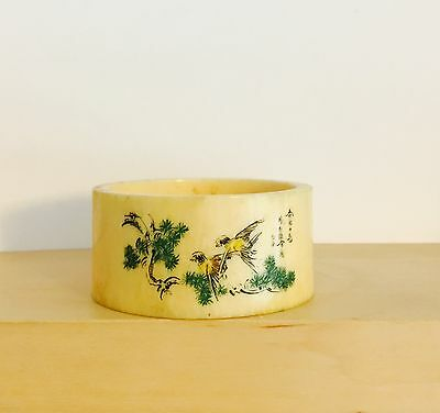 Bovine Bone Carved And Painted Chinese Napkin Ring Probably Late 19th Century