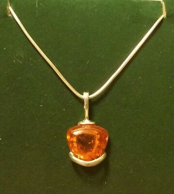 Vintage 925 Sterling Silver Art Deco Style 3ct Amber Pendant Necklace 15 Inch