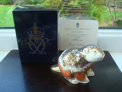 Boxed Royal Crown Derby Beaver Paperweight Gold Stopper 1st Quality