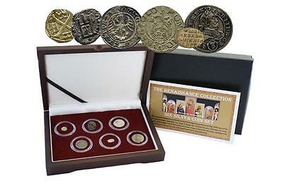 Renaissance Era: 6 Silver Medieval European Coins in display box with COA