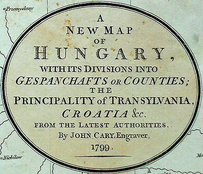 1799 Large Antique Map Chart John Cary Hungary Transylvania Croatia