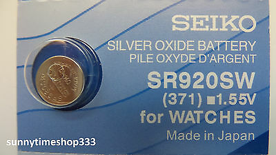 SR920SW/371 , Seiko Watch Battery , Made in Japan, Silver Oxide, 1.55V