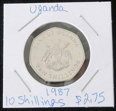 Beautiful Two Coin Set ~ 2 Brilliant Uncirculated Uganda 1987 10 Shillings Coins