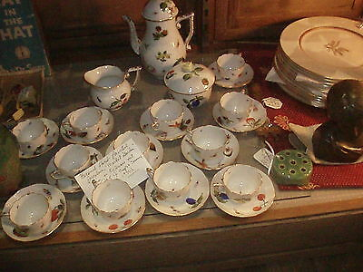 "Vintage Herend, ""Market Garden"" Handpainted Porcelain  Expresso Or Tea Set"