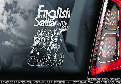 English Setter - Car Window Sticker - Dog Sign -V02