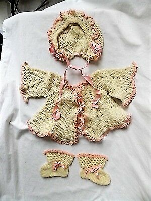 Vintage Frilly Crochet Baby or Doll Sweater Bonnet Booties  Set Pink Trim Ribbon