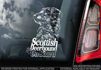 Scottish Deerhound - Car Window Sticker - Dog Sign -V01