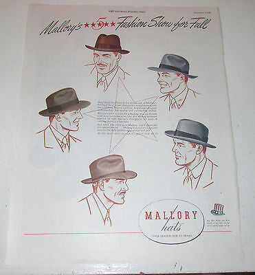 1945 original ad Mallory Hats for Men 5 new Styles for Fall