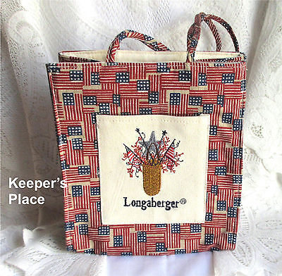 Longaberger Americana Flag Canvas Lunch Shopping Gift Tote Bag