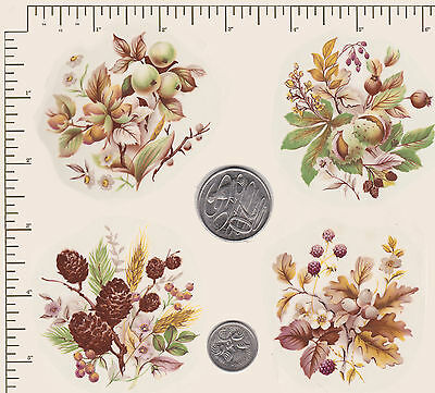 "4 x Waterslide ceramic decals Decoupage Nuts Berries Approx2 1/2"" x 2 1/2"" PD61"