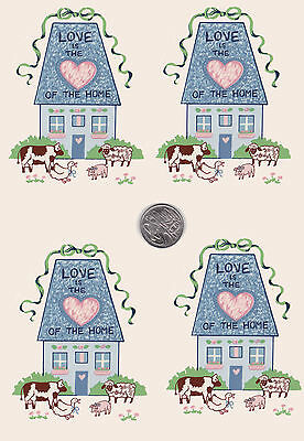 "4 Waterslide ceramic decals. 3 1/2"" x 4 1/2"" Country. House Love Home Heart PD7"