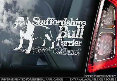 Staffordshire Bull Terrier - Car Window Sticker - Staffie Staffy Dog Sign - V10