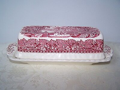 Masons / Mason's Pink / Red Vista 1/4 Pound Covered Butter Dish - No Flaws