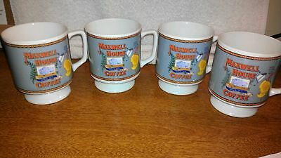 Vintage Maxwell House Pedestal China Coffee Cups / 6 oz. / Set of 4