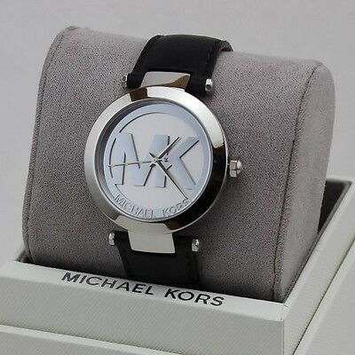 New Authentic Michael Kors Silver Tone Logo Black Leather Women's Mk2458 Watch