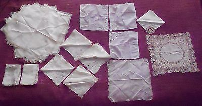 Large Lot 20 Antique Hankerchiefs Silk Damask Embroidery Maltese Brides Hankie