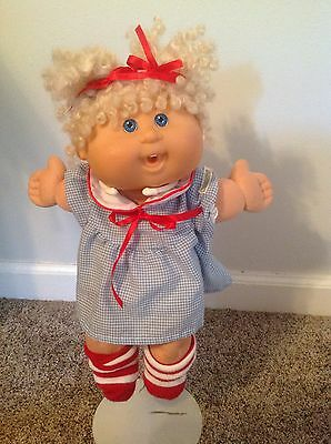Cabbage Patch Kid 2004 Play Along Blonde Curly Hair Blue Eyes Original Outfit