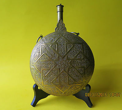 Antique Military Early 1900s Brass Gunpowder Flask Turkish Islamic / Ottoman