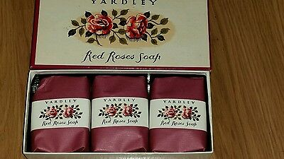 VINTAGE YARDLEY RED ROSES SOAP 3 Bars in Box