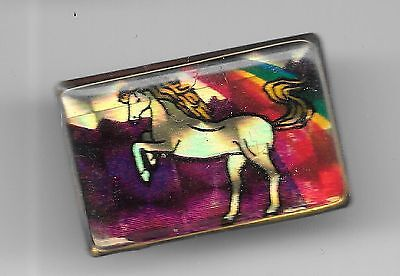Vintage White Horse on Hind Legs irridescent rainbow old enamel pin