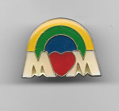 Vintage MOM with a Heart and  Rainbow old enamel pin