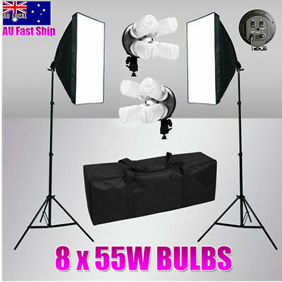 Photo Studio Video Softbox 4 Head Light Soft Box Continuous Lighting Stand Kit