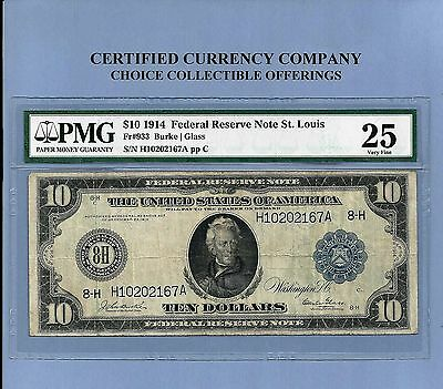 1914 $10 St.Louis FR 933 Federal Reserve Note PMG Very Fine 25 RARE Issue