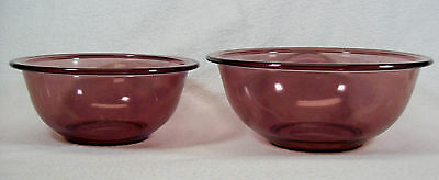 2 Visions Cranberry by Corning Pyrex Nesting Mixing Bowls #322 1L & #323 1.5L