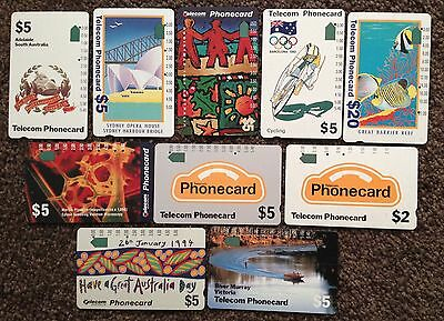 Telecom  10 x Australia Telstra  phonecards  USED phone cards