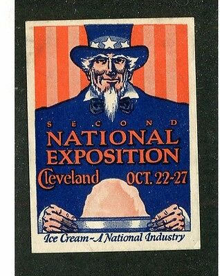 Vintage Poster Stamp Label 2nd NATIONAL ICE CREAM EXPOSITION Cleveland Uncle Sam