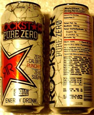 FULL USA Can 16 oz ROCKSTAR Energy Drink PURE ZERO PUNCHED - TEXTURED (HTF)