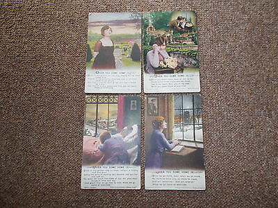 """Ww1 Set Of 4 - Bamforth Song - """"when You Come Home"""" - Used"""