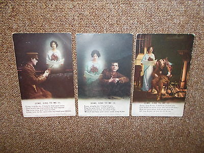 """Ww1 Set Of 3 - Bamforth Song - """"come Sing To Mey"""" - Unused"""