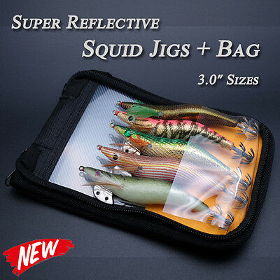 "5x Japanese Reflective Squid Jigs Bait Tackle Jig Lure 3.0"" Glow Luminous + Bag"