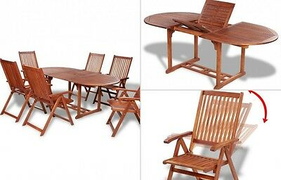 Outdoor Patio Dining Set Wooden Garden Folding Furniture Extending Table Chairs