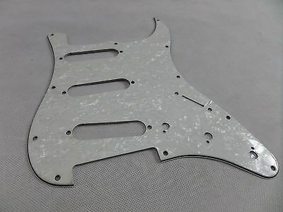 Pickguard Scratchplate Guitar White / Pearl 3 Ply 11 Hole Fender Strat sss New