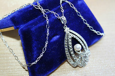 Exquisite Art Deco Vintage Sterling Silver Marcasite & Genuine Pearl Necklace
