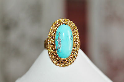 10g VICTORIAN ANTIQUE GOLD ON STERLING NATURAL TURQUOISE COCKTAIL RING SZ 6