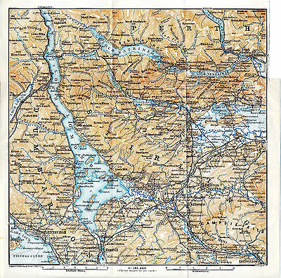 Stirling Helensburgh 1910 small orig. map + guide (8 p.) The Trossachs Callander