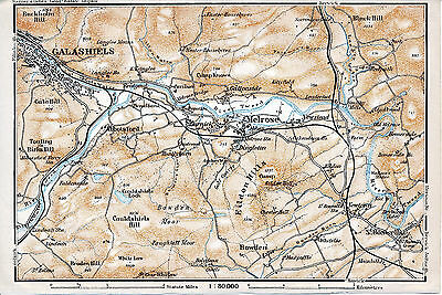 Melrose Galashiels St. Boswells 1910 small orig. map + guide (5 p.) Bowden Tweed
