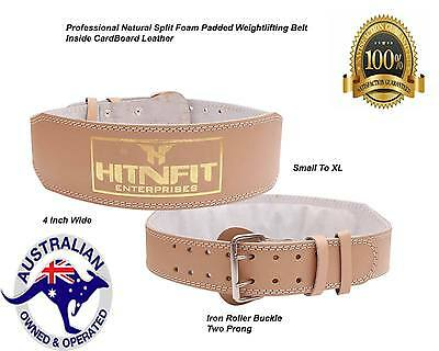 "HNF 4"" weightlifting Belt-Genuine leather inside cardboard padded Back support"