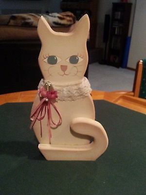 "Decorative Handmade Wooden Folk Art Cat Figurine (14x7"") - item 1034"