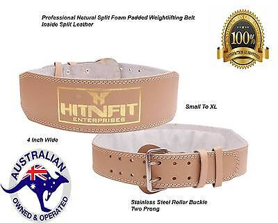 """HNF 4"""" weightlifting Belt-Genuine Natural leather-ultra soft padded Back support"""