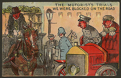 The Motorists Trials. We Were Blocked on the Road. Vintage Motoring Humour Card